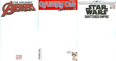 Comic Con Blank Cover Sketch Kit Lot Avengers Grumpy Cat Star Wars & Top Loader
