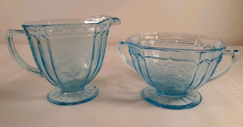 DEPRESSION GLASS MAYFAIR OPEN ROSE BLUE CREAMER AND SUGAR BOWL SET