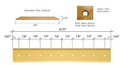 Skid Steer Bucket Cutting Edge - 63.25 X 8 X 34 H439028 With Boltsnuts