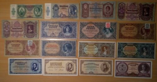 Hungary Lot of 16 Banknotes Pengo , milpengo