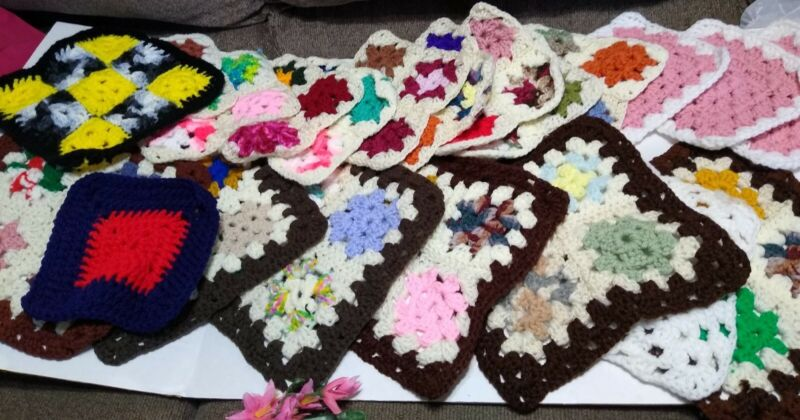 21 Hand Crochet Granny Squares Yarn Afghan Blanket Square