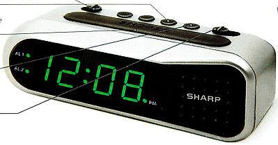 Sharp Digital Dual Alarm Clock Battery Backup, Ascending Alarm Large LED Display