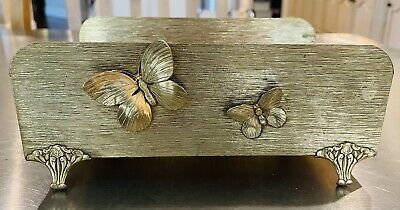 Vintage Brass Gold Letter Holder Napkin Paper With Butterfly