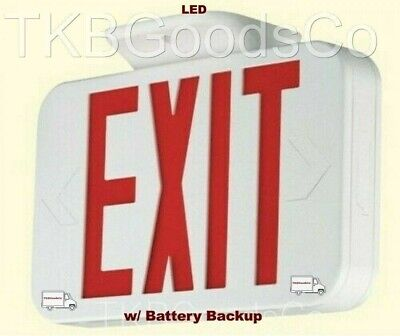 Exit Light Led Sign W Battery Backup Thermoplastic Housing Ceiling Wall Mount