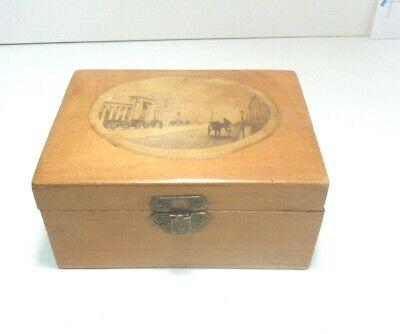ANTIQUE MAUCHLINE SMALL WOODEN  BOX UNION STREET ABERDEEN
