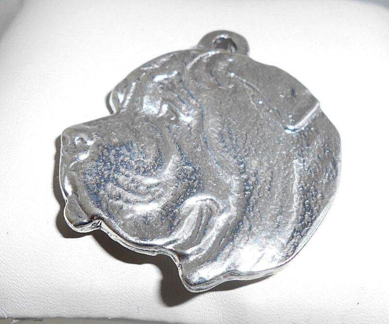 Exceptional  Artisan-crafted Large  3-D  Mastiff  Cameo  Sterling Silver Pendant