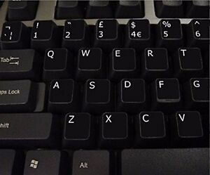 English UK BLACK Stickers with White Letters - laptop,PC,computer, keyboard