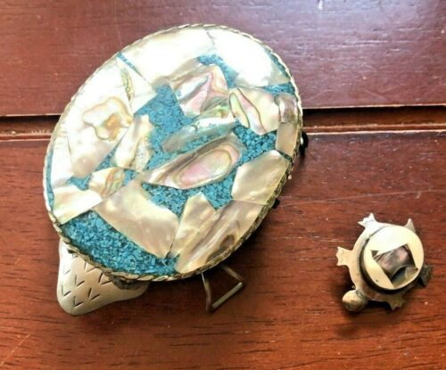 Vintage Mexican Abalone & Turquoise Silverplated Turtle Trinket Box & Turtle Pin