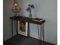Walnut Stained Industrial Console Table Mid Century Modern Style hairpin Table