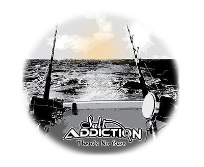 Salt Addiction Fishing t shirt Saltwater Fishing boat trolling  deep sea ocean
