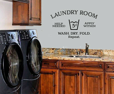 (LAUNDRY ROOM HELP NEEDED STICKER WALL DECAL WORDS LETTERING QUOTE LAUNDRY DECOR)