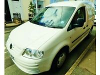 VW Caddy white diesel van 69ps SDi, 08, 12 mo MOT, FSH, great cond, camping, trade, everyday space