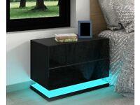 *BRAND NEW* 2 Drawer LED Bedside Table – black