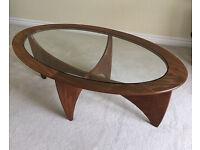 Original 1960s G-Plan oval teak & glass table for sale