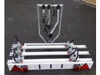 Custom Heavy Duty Fiamma 3 Bike Cycle Rack with Locking Arms Tow Ball Plate Mounting