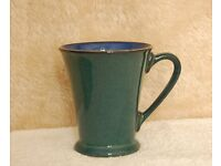 Six Denby Harlequin Mugs Green With Blue Insert - Like New