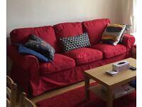 IKEA 3,seats red sofa