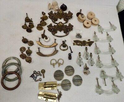large lot of antique and vintage cabinet hardware some glass dresser pulls