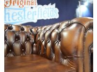 **NEW CHESTERFIELD - 3 PIECE SUITE, Real Leather!**