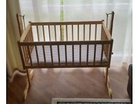 Clair de Lune Swinging Crib. Excellent condition. Solid Beech Wood.