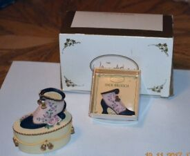 """Jane Asher Collection"" Pink & Blue Trinket Box with Brooch"