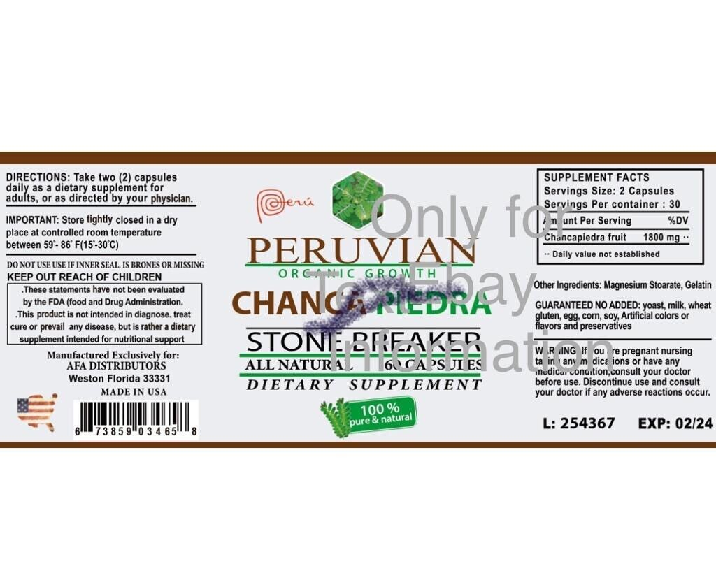 CHANCA PIEDRA Pure Stone Breaker 1800mg Urinary Tract Removes Impurities 120 cap 1