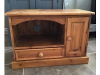 Pine TV unit with drawer and cupboard
