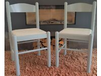 GREY WOODEN KITCHEN/DINING CHAIRS WITH BEIGE & GREY WEAVE PADDED SEATING x 2.VGC