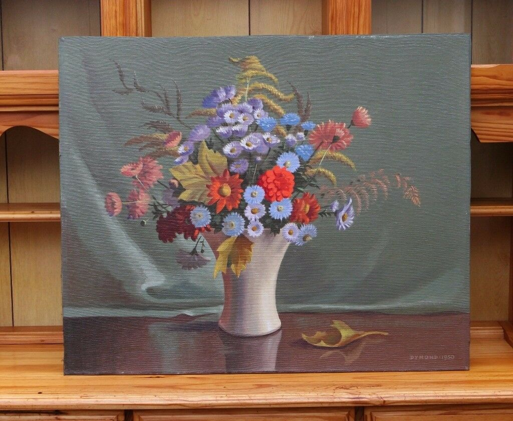 Still Life Painting Oil On Board Of Flowers Signed Dymond 1950