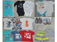Bundle of Baby Boy Clothes 9 to 12 mhs (13 pieces + 2 pairs of shoes)