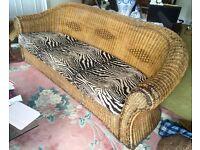 Fab South African Wicker Sofa w cushions