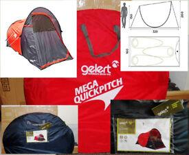 NEW Gelert Quickpitch TEN488 pop up Tent & Carry Bag 3 person Stand up Red Brown