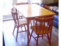 pine dining table and 4 chairs in excellent condition bargain must go
