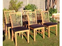 Solid Oak Dining Chairs x 6 from JYSK cost £50 each .. hardly used Perfect condition ! !