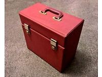 """Retro / Vintage Dark Red Lockable 12"""" Vinyl Record Storage Case With Key - Great Condition"""