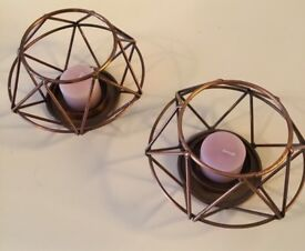Dark copper candle holders pair