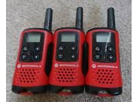 Three Motorola TLKR T40 Walkie Talkies