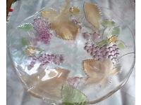 large glass grapes serving platter