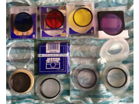 Various filters for 49mm camera - polariser - various light/UV - X4 close up etc