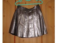 Topshop Silver Pleated Leather Skirt