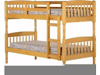 NEW strong solid wooden bunk beds can be split into 2 singles
