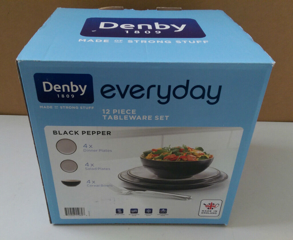 DENBY EVERYDAY BLACK PEPPER 12 PIECE DINNER SET BRAND NEW BOXED ...