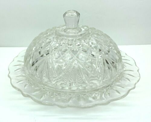 Vintage Anchor Hocking Round Covered Clear Prescut Butter Dish-Pineapple Pattern