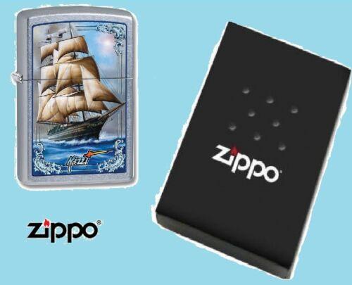 Zippo Lighter Tall Ship Mazzi Art Blue and chrome Windproof lifetime guarantee