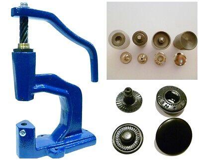 Spindelpresse + 180 Druckknöpfe TYPE 54 / 12,5mm schwarz + Werkzeug für Textil