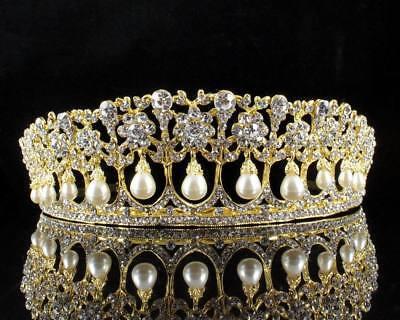Princess Pearls Austrian Crystal Rhinestone Tiara Crown Bridal Prom Wedding T25g (Gold Princess Crown)