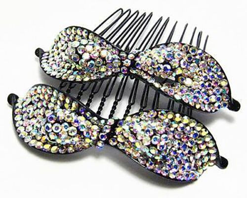 2PCS LILY AB WHITE AUSTRIAN RHINESTONE CRYSTAL HAIR COMBS COMB BARRETTE C1151W