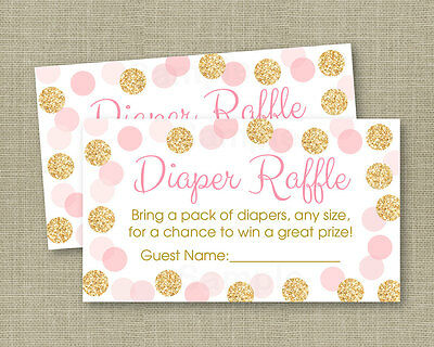 Blush Pink & Gold Glitter Dots Printable Baby Shower Diaper Raffle Tickets - Baby Shower Diaper Raffle