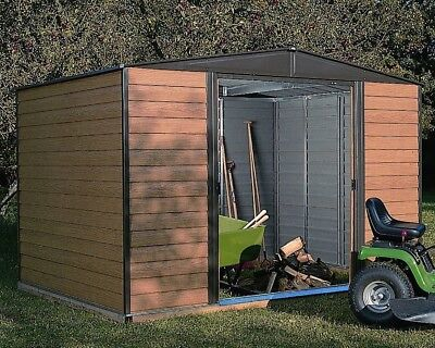10x6 10FT X 6FT METAL APEX SHED GARDEN STEEL STORE STORAGE SHEDS BROWN DOORS NEW