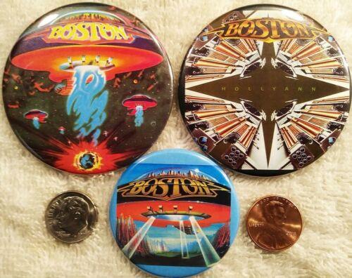 Boston Band PIN BUTTON LOT - 3 Album cover Photo Tom Scholz Rare Brad Delp